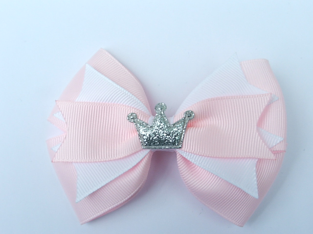 large pink princess hair bow with crown centre handmade hairbows